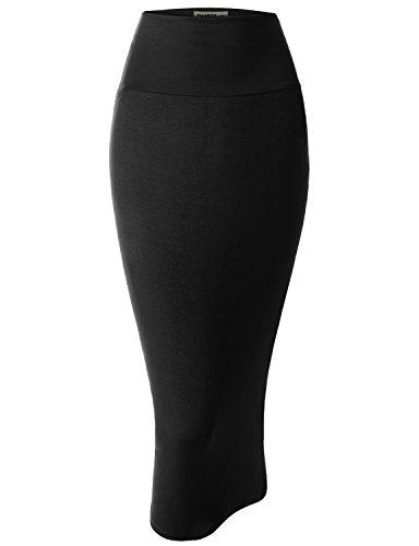 Doublju Women Lightweight Stretchy Fabric Elastic Waist Band Pencil Skirt