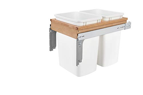 Rev-A-Shelf - 4WCTM-18DM2 - Double 35 Qt. Pull-Out Top Mount Wood and White Waste Container for 1-1/2 in. Face Frame Cabinet