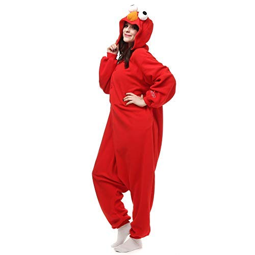 Amazing Cosplay Unisex Adult Red Elmo Onesie Animal Cosplay Costume Xmas -