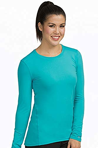 Med Couture Performance Longsleeve Knit Tee for Women, Aquamarine, XX-Large