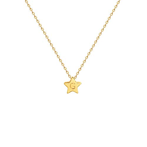 (Gold Initial Star Pendant Necklace,14K Gold Plated Dainty Cute Personalized Rising Lucky Star Necklaces for Women,Letter)