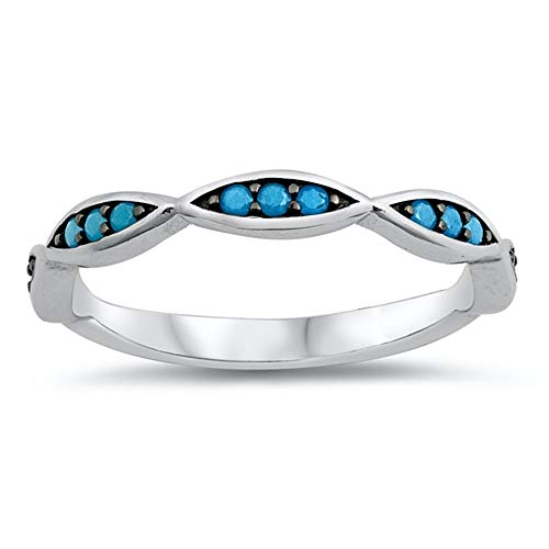 - CloseoutWarehouse Simulated Turquoise DNA Design Ring Two Tone Rhodium Plated Sterling Silver Size 8