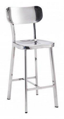 Merveilleux Zuo Modern Set Of 2 Winter Counter Chairs, Polished Stainless Steel