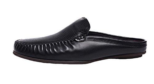 Santimon Backless Pantoffels Holle Heren Lederen Vrijetijdsschoenen Loafers Schoenen Zwart