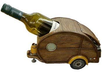 Woody Teardrop Travel Trailer RV Collectible Wine Bottle Holder, 11-inch, Tabletop Rack