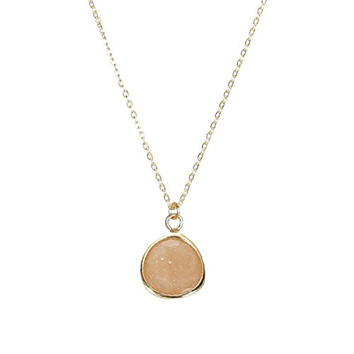 Fettero Women Dainty Handmade Wafer Pendant Necklace 14K Gold Fill Glass Crystal Oval Chain 17