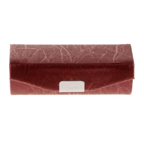 - Cracked Stone Pattern Lipstick Case Brocade Embroidered Holder Box w/Mirror (Color - Red Bean)