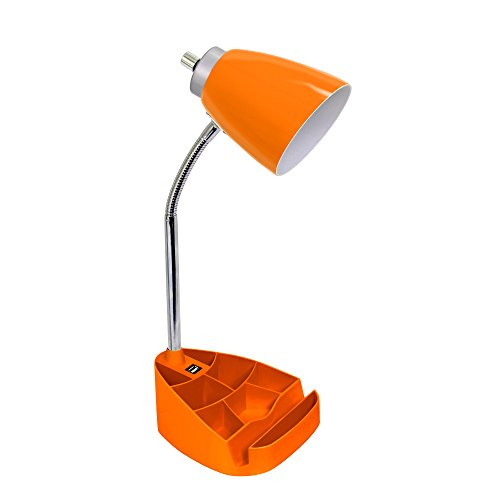 Limelights LD1056-ORG iPad Tablet Stand Book Gooseneck Organizer Desk Lamp with Holder and USB Port, Orange,