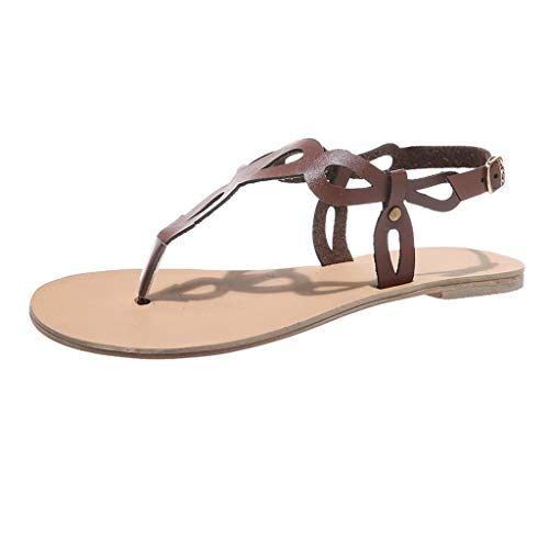 NRUTUP Woman Flats Summer Sandals Fashion Casual Shoes Rome Style Gladiator Sandals (Coffee,42) -