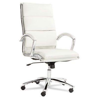 (Alera NR4106 Neratoli Series High-Back Swivel/Tilt Chair, White Faux Leather, Chrome Frame)