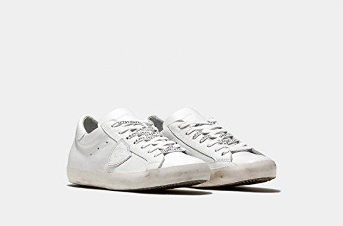 Philippe Model Mannen Sneaker Laag Paris Lu Veau Blanc - Kwaliteit Designer Sneakeraus Leer Met Zolen In Vintage Look - Wit