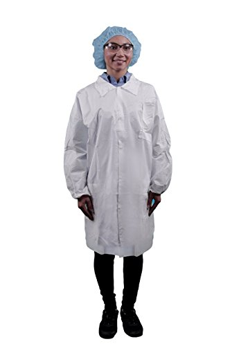 Keystone LC3-WE-KG-XL Key guard Lab Coat, 3 Pockets, Snap Front, Single Collar, XL, White (Pack of 30)