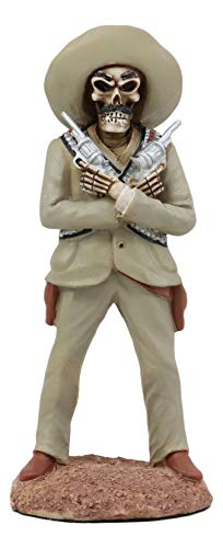 Ebros Day of The Dead General Pancho Villa with Dual Revolvers Skeleton Statue Governor of Chihuahua Mexican Revolutionary Hero of División del Norte Sculpture Home Decor Halloween DOD Figurine (Chihuahua Skeleton)