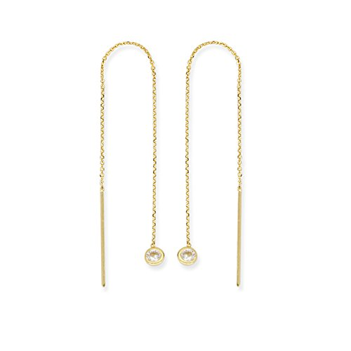 Threader Earrings 14K Yellow Gold with Cubic Zirconia and Bar Ends - Cable Chain Ear Thread