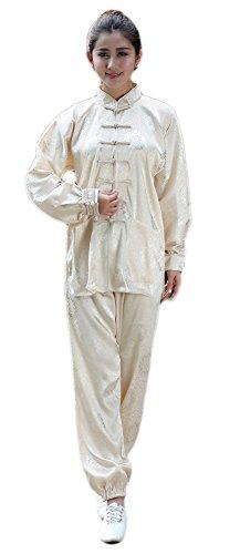 AvaCostume Womens Tradition Chinese Tai Chi Clothing Satin Kungfu Uniform, Cream, XS