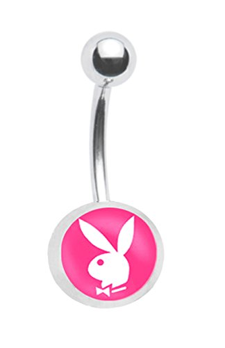 Playboy Bunny Rabbit - Officially Licensed Pink Playboy Bunny rabbit Belly navel Ring piercing bar body jewelry 14g