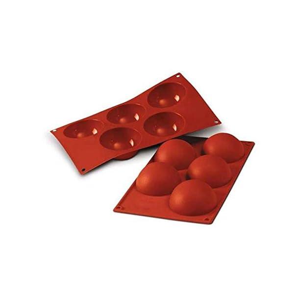 silikomart 20.001.00.0060 Stampo in Silicone per monoporzioni a semisfera cavità Ø 80 h 40 mm, Rosso, Volume: 5 x 120 ml… 1 spesavip
