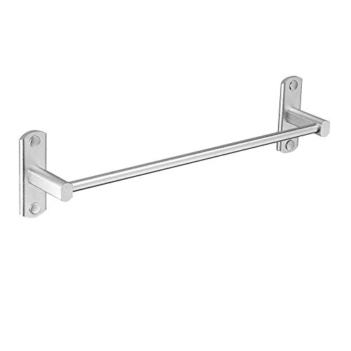 BESy Bathroom Towel Bar Towel Holder, Space Aluminum, Self Adhesive with Glue or Wall Mount with Screws, Hanging Towel Rail Stick On Sticky Hanger Contemporary Style, Dull Polished Silver