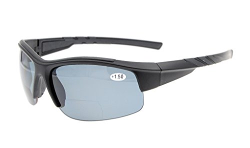 Eyekepper TR90 Unbreakable Sports Bifocal Half Rimless Sunglasses Baseball Running Fishing Driving Golf Softball Hiking Matte Black Frame Grey Lens +3.0