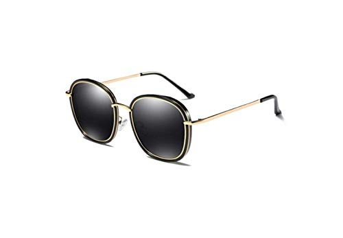 Gafas De Cara Marco Sol Redonda De Negro Personalidad Retro Gafas De Polarizadas Pieza Sol liwenjun Negro Brillante Sol Gris Gafas d8wIdq