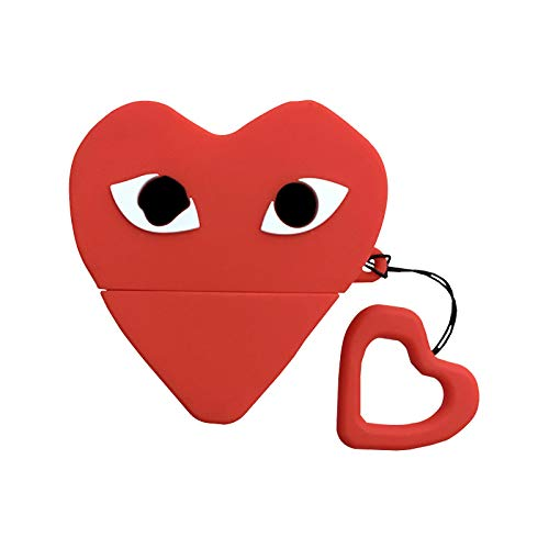 - Ultra Thick Soft Silicone Red Heart Eyes Case with Finger Strap for Apple Airpods 1 2 Play Love Protective Cute Lovely Luxury Designer High Fashion Brand Fun Funny Japanese Girls Women