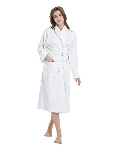 100% Cotton Terry Bath Robe, Men and Women,Soft & Warm Fleece Home Bathrobe, Sleepwear Loungewear, One Size Fits All -