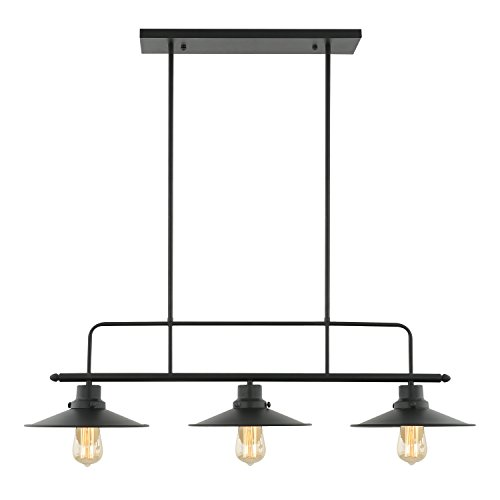 Light Society Margaux 3-Light Kitchen Island Pendant, Matte Black, Vintage Modern Industrial Chandelier (LS-C114) 3 Light Entryway Hanging