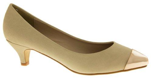 Faux Cuir Sabatine Femmes Talon Beige Bas Formelles 31526 Chaussures ZBww5xaq