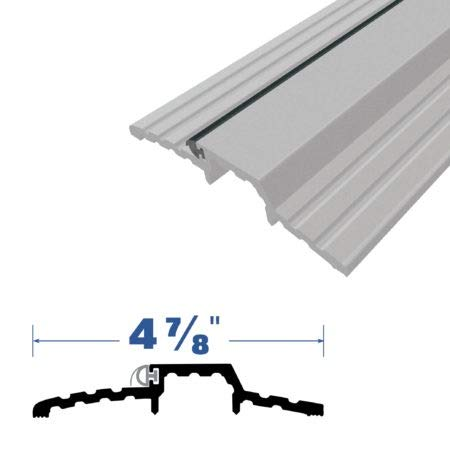 Mill Finish Aluminum Sheet - Mill Aluminum Rabbeted Door Threshold with Neoprene Solid Rubber Extrusion (3565MA), SMS # 10 x 1-1/2'' Supplied, (4-7/8'' W x 7/8'' H) (72'')