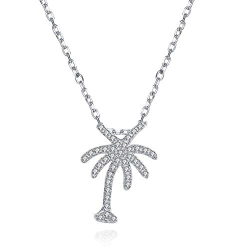 BALANSOHO 925 Sterling Silver Clear Cubic Zirconia Coconut Palm Tree Pendant Necklace 17'', Women Girl Jewelry Gifts