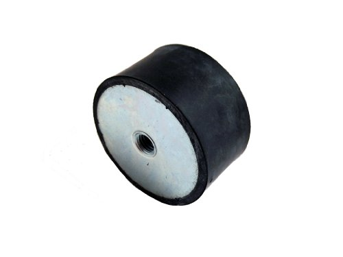 JW Winco 351.3-51-41-3/8-55 Series GN 351.3 Rubber Cylindrical Vibration Isolation Mount with 2 Tapped Holes, Inch Size, 2.00' Diameter, 1.63' Height, 3/8-16 Thread