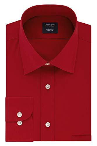 Arrow Men's Dress Shirt Regular Fit Stretch Poplin Solid, Red, 16