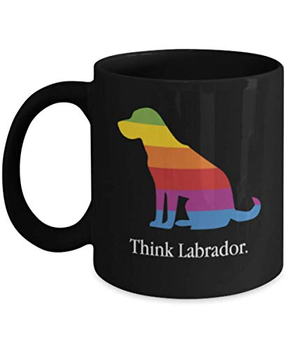 - Gift gor dog lovers, Think Labrador - Black Coffee Mug Porcelain Tea Cup 11 oz - Great Gift