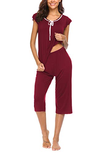 MAXMODA Women's Sleepwear Tops Short Sleeve with Capri Pants Pajama Sets