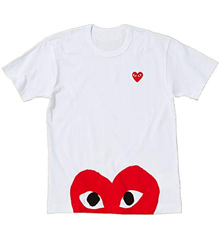116 - Red Heart Polka Dot Camo Tee T Shirt Unisex White Red Green (S, Red Heart)