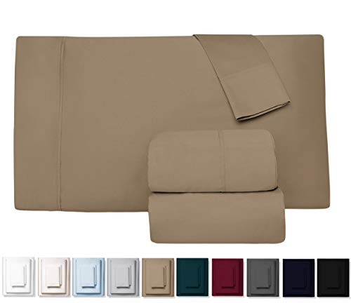 True 600 Thread Count 100% Pure Egyptian Cotton Bed Sheets, 4-Pc Cal King TAUPE Sheet Set, Single Ply Long-Staple Combed Cotton Yarns, Best Sateen Weave, Fits Mattress Upto 17'' Deep Pocket (Bed Sheets Twister)