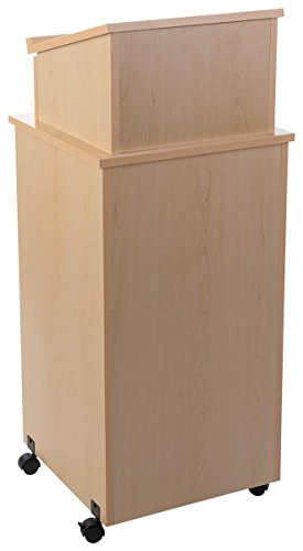Stand Speaker Lectern (Displays2go Speaker Podium with Wheels, Locking Compartment, Melamine, MDF Construction – Maple Wood Grain (LCTTBLRMPD))