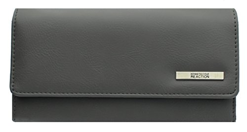 Kenneth Cole Zipper Wallet (Kenneth Cole Reaction Women's Tri-fold Clutch Design New! (BUFF FOGGY GREY))