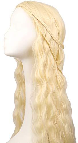 Daenerys Targaryen wig in Game of Thrones Season 7 Long Curly Braided Wig Blonde Cosplay Costume Hair for Women ()