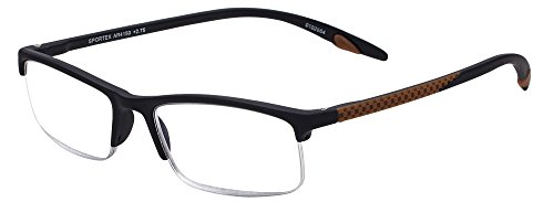 Sportex Readers Rectangular Reading Glasses Men's Semi-Rim, Brown, 2.00 from Select-A-Vision