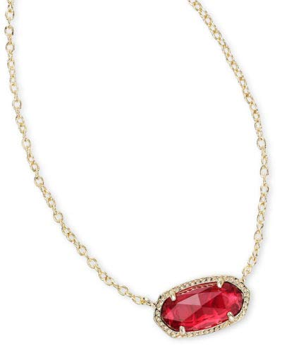 (Kendra Scott Women's Elisa Birthstone Necklace January/Gold/Berry Clear Glass)