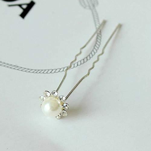 Pearl Bridal Flower Crystal U Shape Headwear Hair Pins Clips Jewelry (color - White)