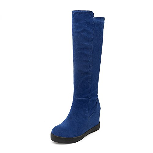 ENMAYER Mujeres Nubuck Dulces Caliente Altura Botas Tacones El Aumento de la Cuña de la Rodilla Altura Azul