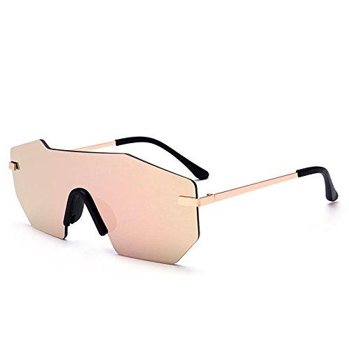 hombre UV400 Sunglasses grande gafas sola gold Unisex sin metálico gafas sol herraje de rose una pieza TL Silver Lentes de nAwPpaPq