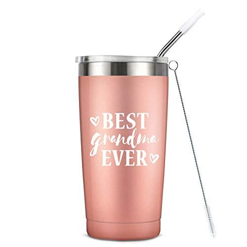Best Grandma Ever - Birthday Mug Tumbler - Vacuum-Insulated Stainless Steel Mug Tumbler with Lid, Birthday Gifts for Grandma Mom, 20-Ounce Rose Gold (Grandma Presents For Best)