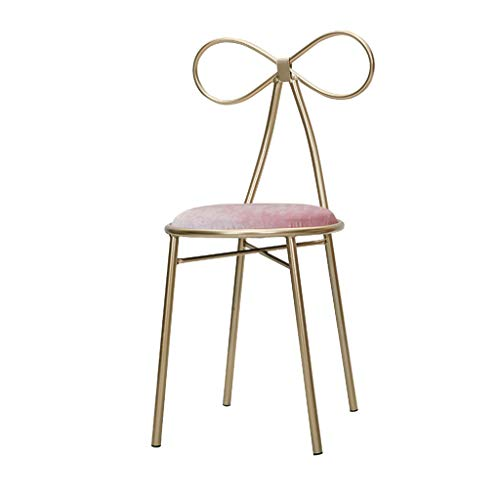 - Home warehouse Leisure Chair, Gold Metal Backrest Chair Girl Room Dressing Table Chair Makeup Chair Butterfly Knot Chair Iron Stool Dining Chair,Pink