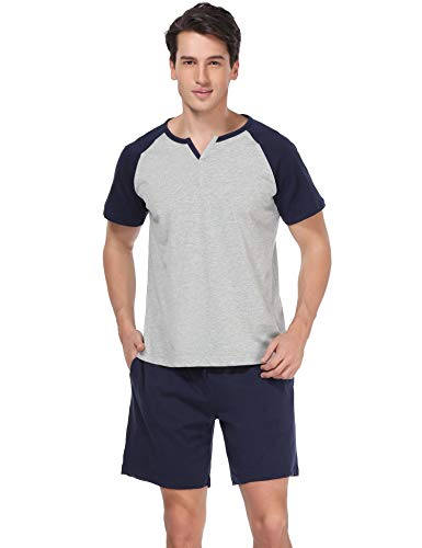 Aiboria Mens Pajamas Shorts Set Summer Sleepwear Cotton Short Sleeve Longue PJ ()