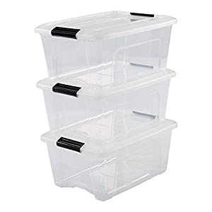 IRIS OHYAMA,3er-Set stackable storage boxes / boxes / stacking boxes, with snap closure, plastic, transparent lid, 15 L,
