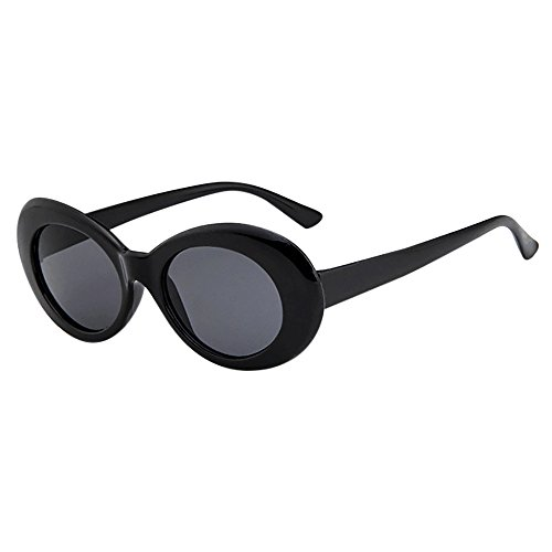 XILALU Retro Vintage Clout Goggles Rapper Oval Shades Grunge Rimmed Glasses UV400 Unisex Sunglasses (Black Grey) - Frame Light Grey Shaded Lenses