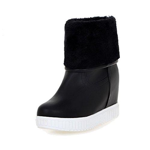 AgooLar Women's PU Low-Top Solid Pull-On High-Heels Boots Black dteAkhtUY